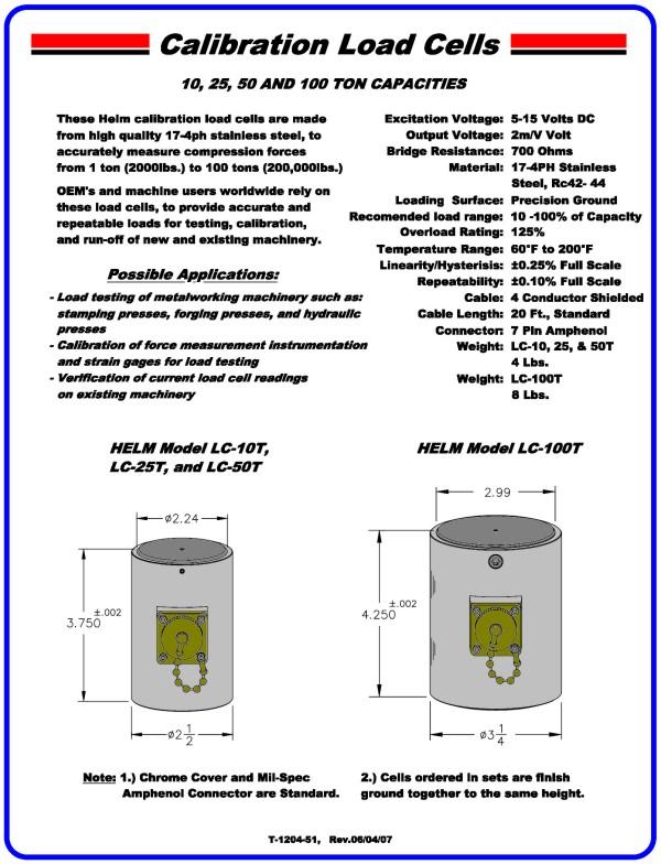 10, 25, 50, & 100 Ton Capacity Calibration Load Cell