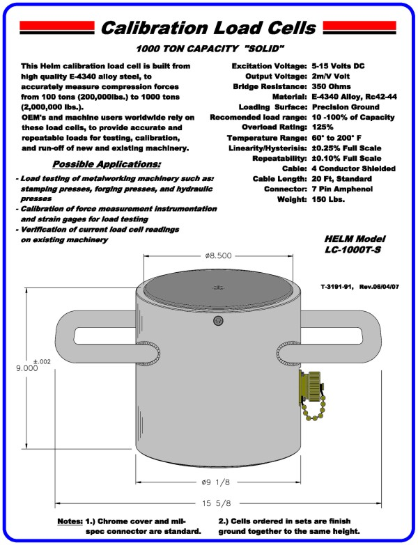 "1000 Ton Capacity ""Solid"" Calibration Load Cell"