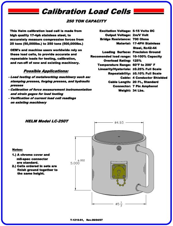 250 Ton Capacity Calibration Load Cell