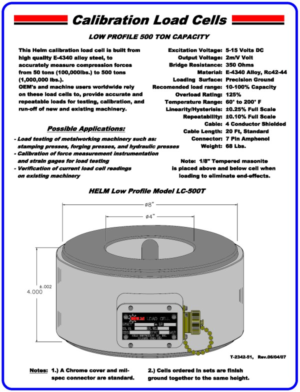 Low Profile 500 Ton Capacity Calibration Load Cell