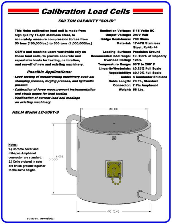 "500 Ton Capacity ""Solid"" Calibration Load Cell"